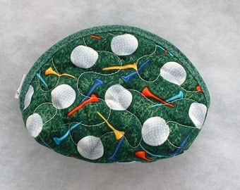 Small Quilted Purse - Golf balls and Tees