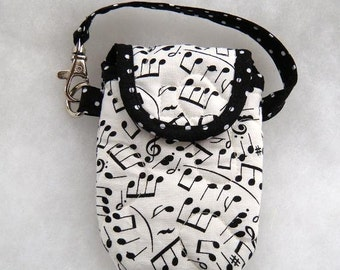 Quilted Cell phone cover - Musical Notes