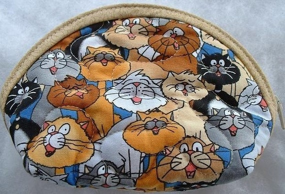 Small Quilted Purse - Singing Cats