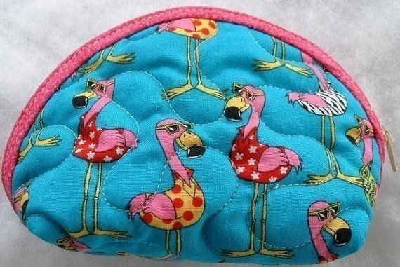 Small Quilted Purse - Flamingos