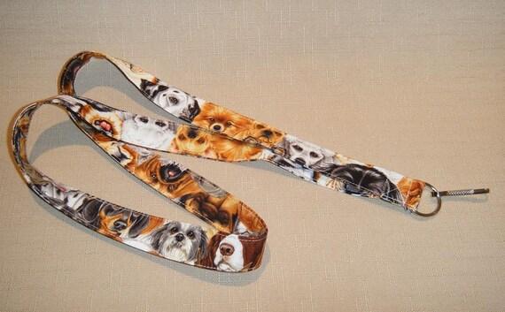 Dog Faces - handmade fabric lanyard