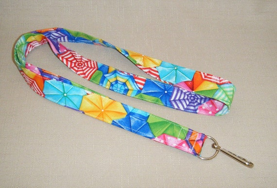 Beach Umbrellas - handmade fabric lanyard
