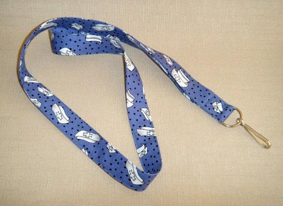 Nurses caps on blue - handmade fabric lanyard