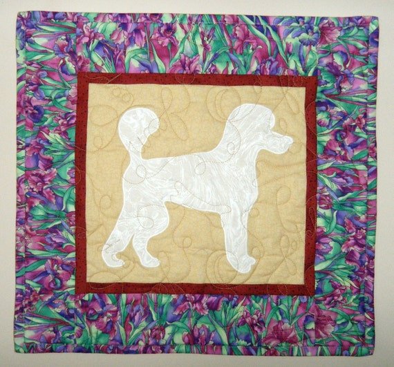 Poodle Quilted Dog Wall Hanging 17 x 16