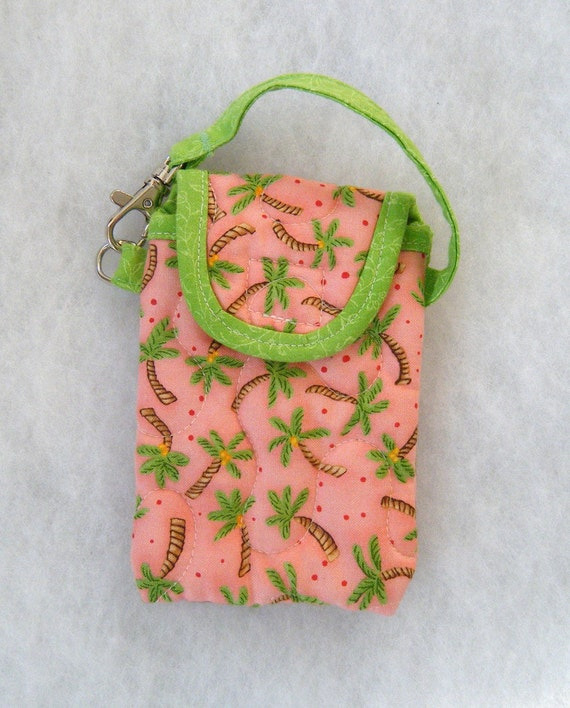 Quilted Cell phone cover - Palm Trees with coral background