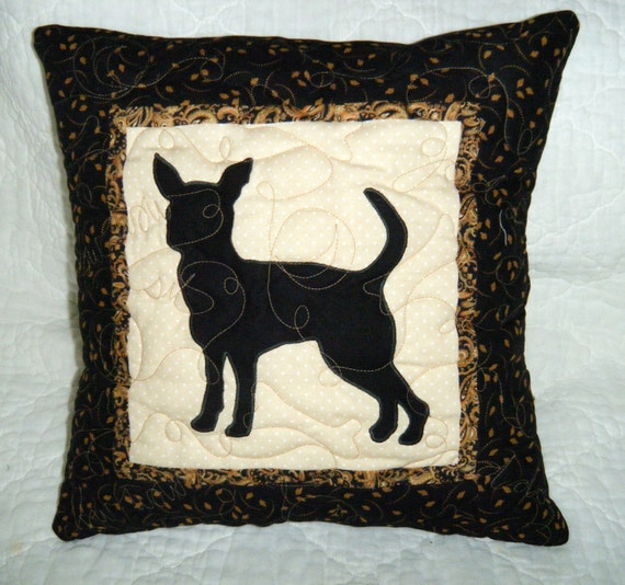 Chihuahua - Quilted Dog throw pillow 16 inches