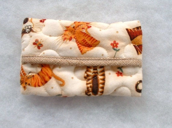 Tissue Holder Quilted - Wacky Cats