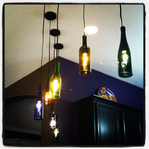Items similar to recycled wine bottle pendant lighting on etsy - Wine bottle pendant light ...