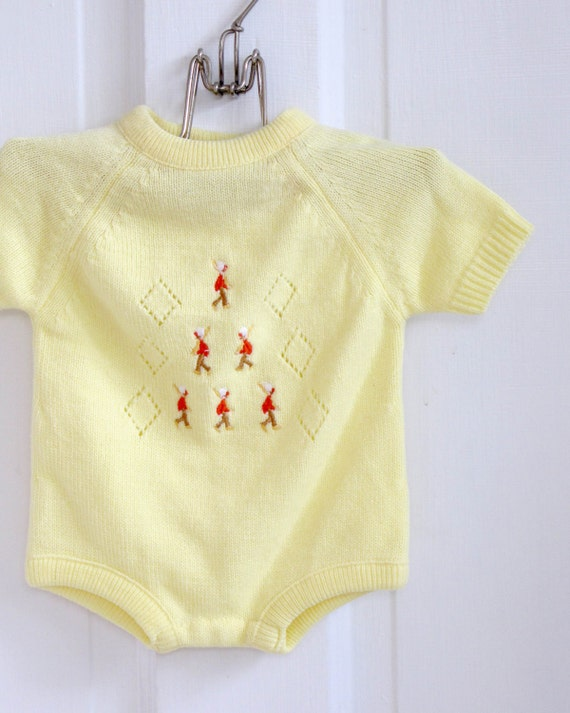 Vintage Yellow Marching Soliders Baby Sweater Romper (3 months)