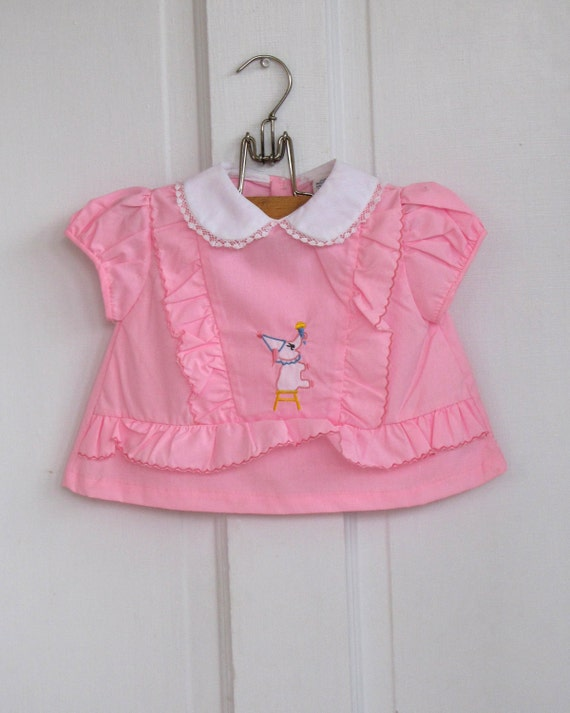 Girls Vintage Pink Party Elephant Toddler Top (12-18 months)