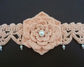 Crochet Choker, Headband With Flower and Pearls, Tie Back
