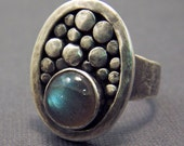 Stream - Labradorite and Oxidized Sterling Silver Cocktail Ring - Blue Green Water Over River Rocks