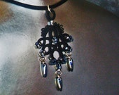 Beaded Lace Necklace . Midnight black . FREE SHIPPING