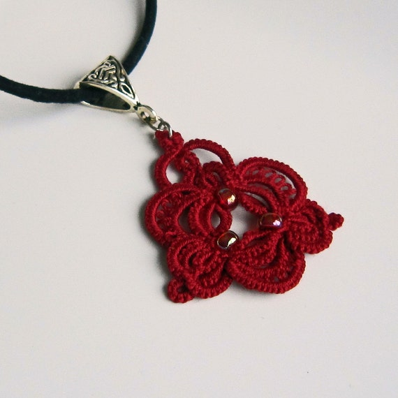 Red Necklace . Lace . Beads . Tatting . Christmas Red Pendant . FREE Shipping SALE