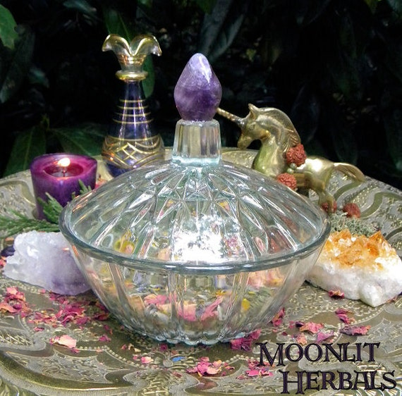 Violet Flame Glass Altar Bowl with Amethyst - Includes 3x4 Bag of your choice of Herbal Spell Blend