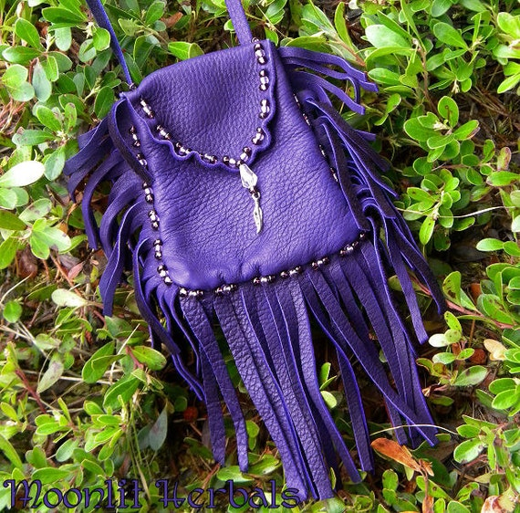 Violet Flame Leather Pouch - Beaded Medicine Bag - Spell Mojo Bag - Pagan Ritual Supplies
