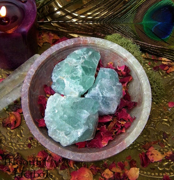 Raw Green Fluorite - Healing, Psychic Intuition, Working with Nature Spirits, Faerie Magick and Absorbing Negative Energies