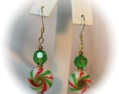 Red and Green Swirl Peppermint Candy Christmas Earrings