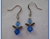 Delicate, Pretty Angel Earrings with Blue Sapphire Swarovski Crystal Beads
