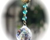 Pretty Suncatcher with Antique Gold Ball, 12mm Faceted Turquoise Beads and Huge 40mm Austrian Crystal Ball, Handmade Hanger
