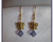 Pretty Gold Pewter Butterfly Earrings with Swarovski Alexandrite Beads