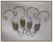 Pretty Oval Design Gold and Silver Ornament/Suncatcher Hangers/Hooks - Set of 4 - Handmade