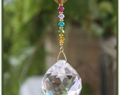 Beautiful Suncatcher with a Rainbow of Swarovski Crystals and 30mm Asfour Crystal Ball, Handmade Hanger, Unique Gifts, Housewarming Gifts