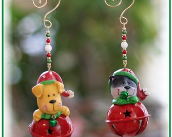 Set of 2 - Puppy and Kitty Bell Christmas Ornaments with Handmade Hanger, Dog Lover Gifts, Cat Lover Gifts, Whimsical Gifts