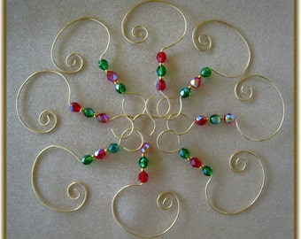 8 Gold Handmade Hangers/Hooks with Red & Green Czech Glass Beads
