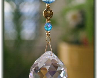 Beautiful Aquamarine Suncatcher with Huge 40mm Austrian Crystal Ball Prism and Handmade Hanger, Unique Gifts, Valentine's Day Gifts