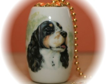 Beautiful Tri-color Springer Spaniel Ceiling Fan Pull - Unique Gift