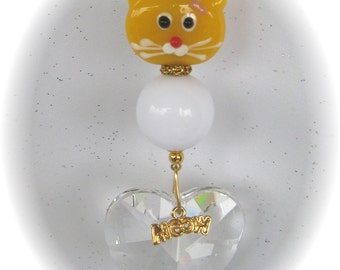 Lampwork Yellow Kitty Cat Suncatcher with Large 40mm Austrian Crystal Heart Prism, Handmade Hanger, Unique Gift, Cat Lover Gifts