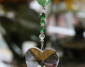Gorgeous Emerald Floral Heart Lampwork Suncatcher with 40mm Heart Austrian Crystal With Handmade Hanger