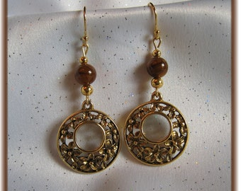 Earrings with Gold Flowered Disc and Tiger's Eye Beads