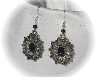 Pretty Black and Silver Flower Earrings