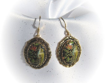 Pretty Earrings with Bird and Flower Cabochons