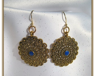 Gorgeous Gold Metal Disc Earrings with Blue Lapis Stone