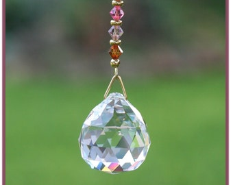 Pretty 30mm Asfour Crystal Ball Suncatcher with Swarovski Beads and Handmade Hanger, Unique gift
