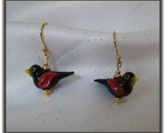 Blackbird Glass Lampwork Earrings