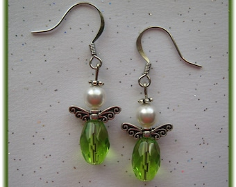Silver Pewter Fairy/Angel Wing Earrings with Emerald Crystal Beads