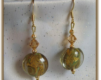 Glass Lampwork Lentil Bead Gold and Green Earrings