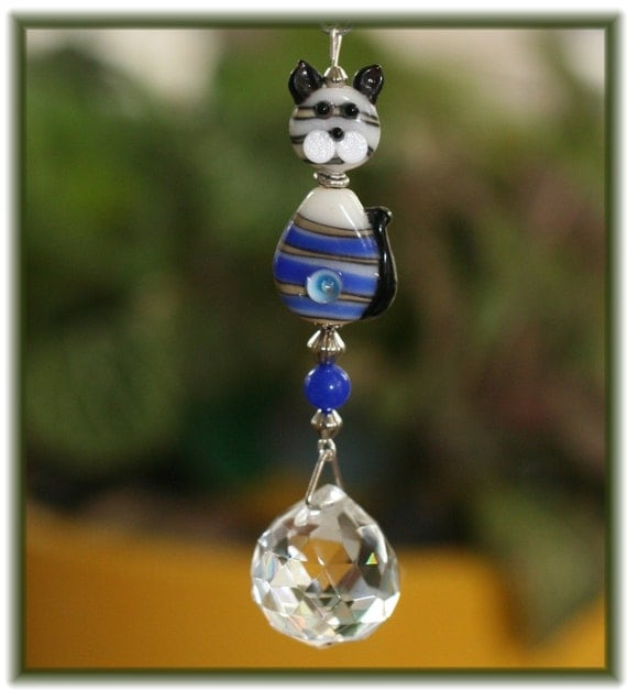 Blue and Tan Striped Kitty Suncatcher with 20mm Austrian Crystal Ball Prism