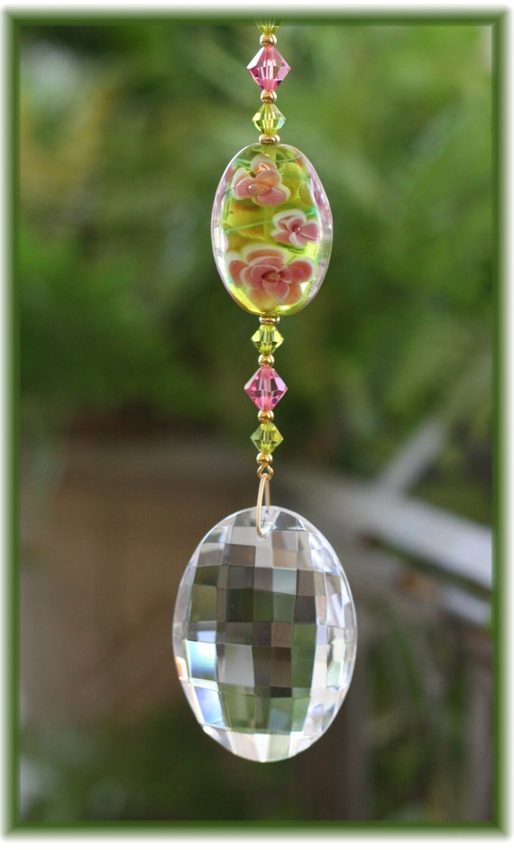 Suncatcher with Oval Green and Rose Lampwork Bead and 50mm Austrian Crystal Matrix Prism