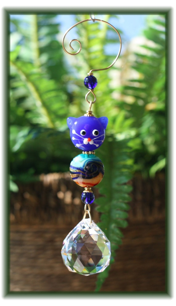 Blue Face Kitty Cat Suncatcher with Lampwork Bead and 30mm Austrian Crystal Ball Prism, Handmade Hanger, Unique Gift
