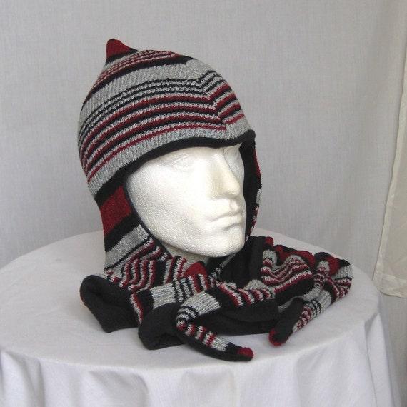 Ecofriendly Hat Scarf Ear Flap Soft Fleece Lined Free Size (642)