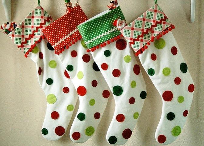 Polka Dot Christmas Stocking Red Polka Dot Cuff