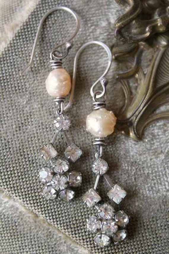 handmade drusy pearl and rhinestones earrings