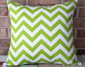 2 Decorative Pillows Chevron Zig Zag Accent Covers Kiwi Green 18 x 18 Cushions Cover