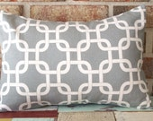 Decorative Pillow Cover - Industrial Warm Gray & Natural Geometric Link Lumbar Pillow Cover 12 x 16 Accent Cushion - Home Baby Nursery Decor