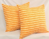 CLEARANCE SALE : 2 Decorative Pillow Covers -  Tangerine Tango Orange Houndstooth .18 x 18 Accent Cushions